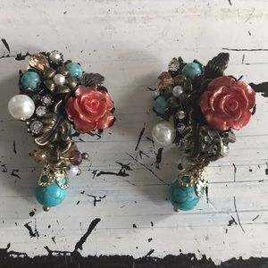 Vintage Inspired Bridal Gold Teal Coral Earrings